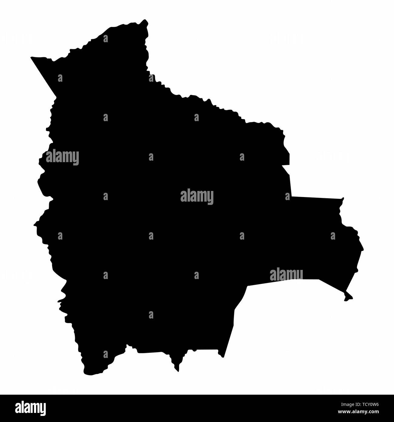 Bolivia map dark silhouette - Stock Image