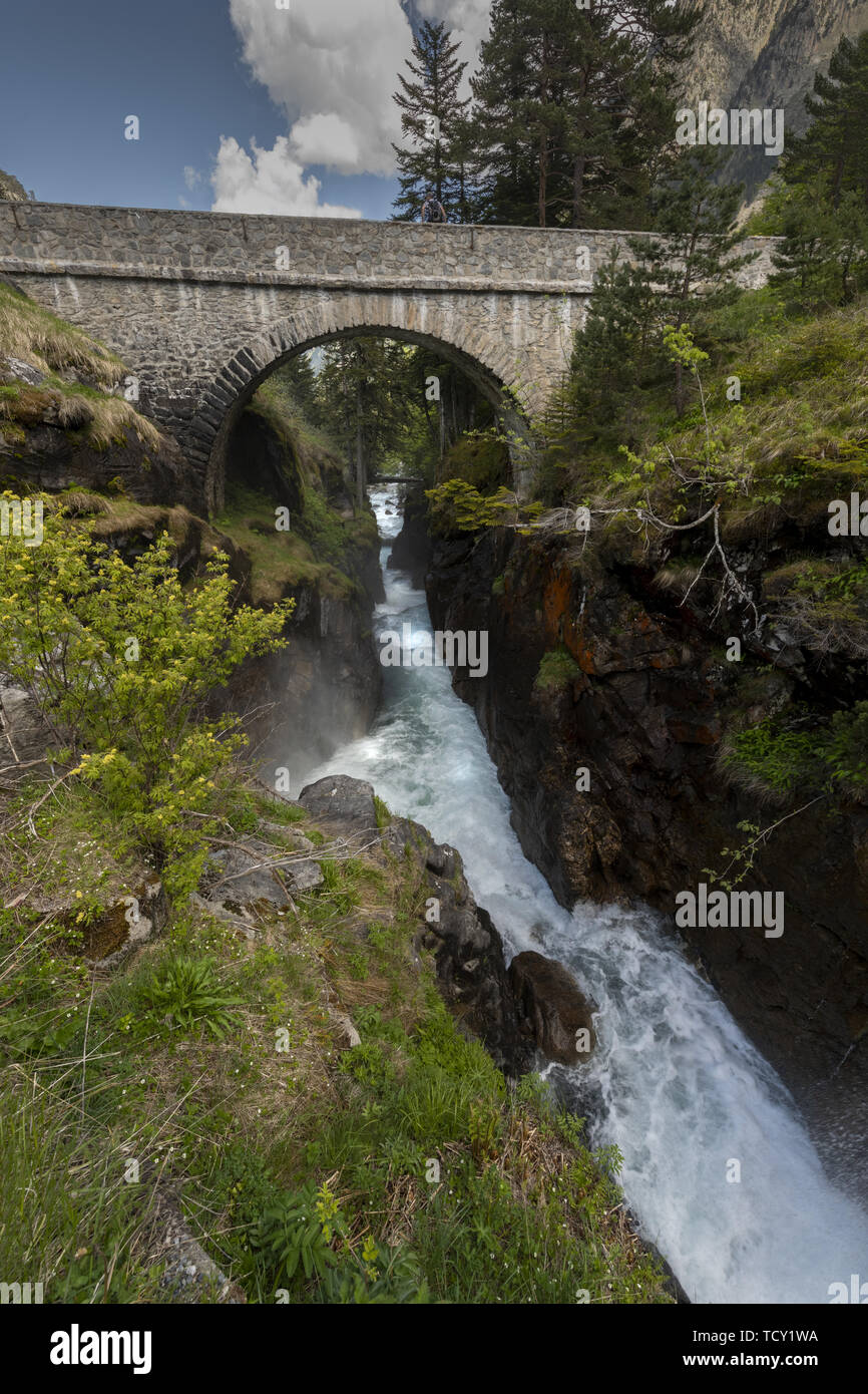Europe, France, Pyrenees, 06-2019,  Waterfall near the Bridge of Spain, (Pont d'Espagne) Situated a 1500 meters in the national park of the Pyrenees m - Stock Image