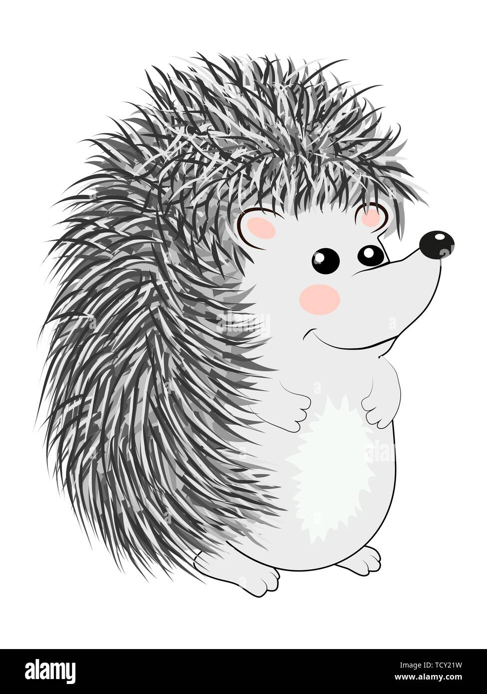 Cool little gray hedgehog in cartoon style wearing. cartoon emoticon pattern toy. - Stock Image