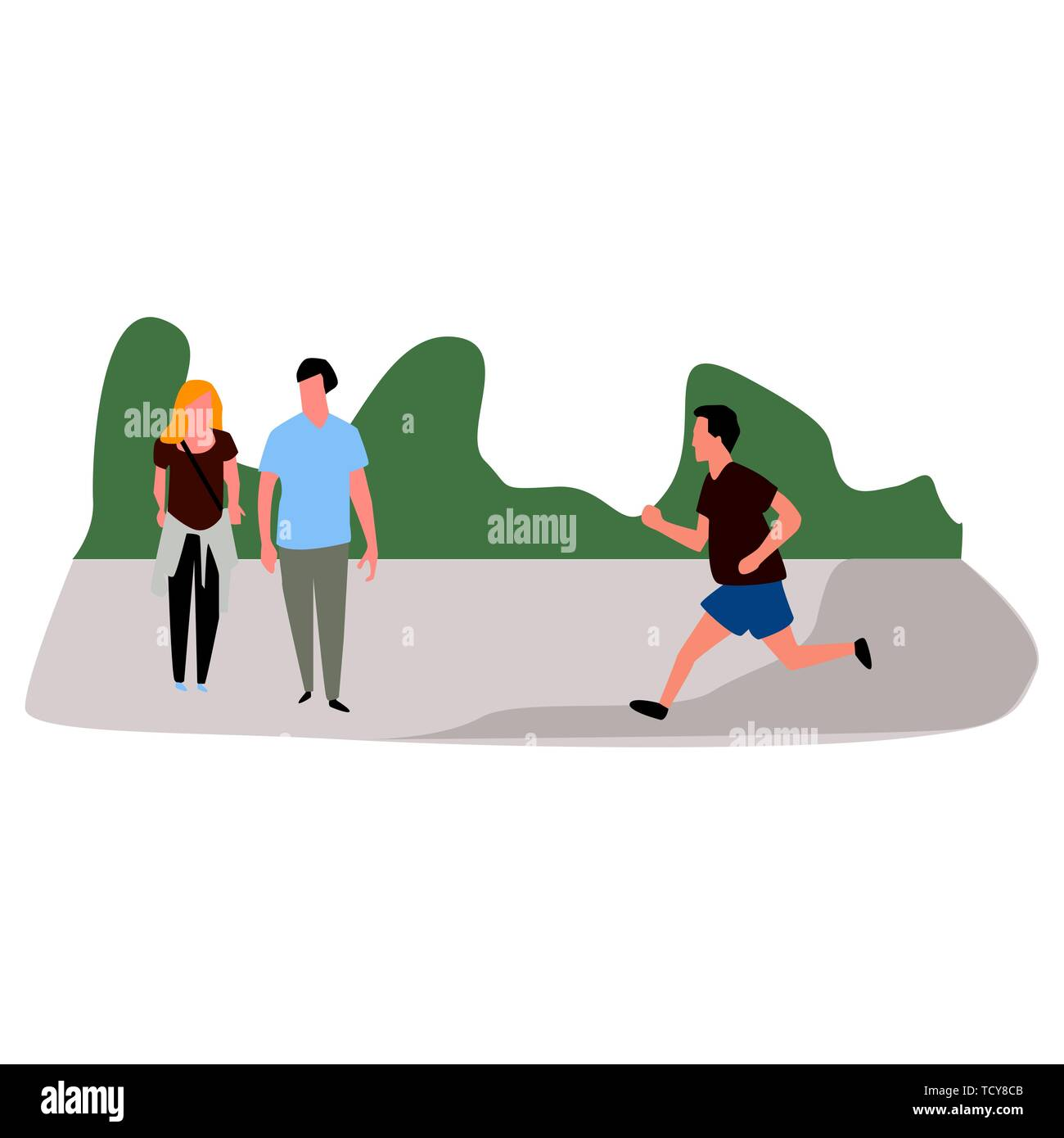 Concept of people walking and running in the park. Vector. - Stock Image