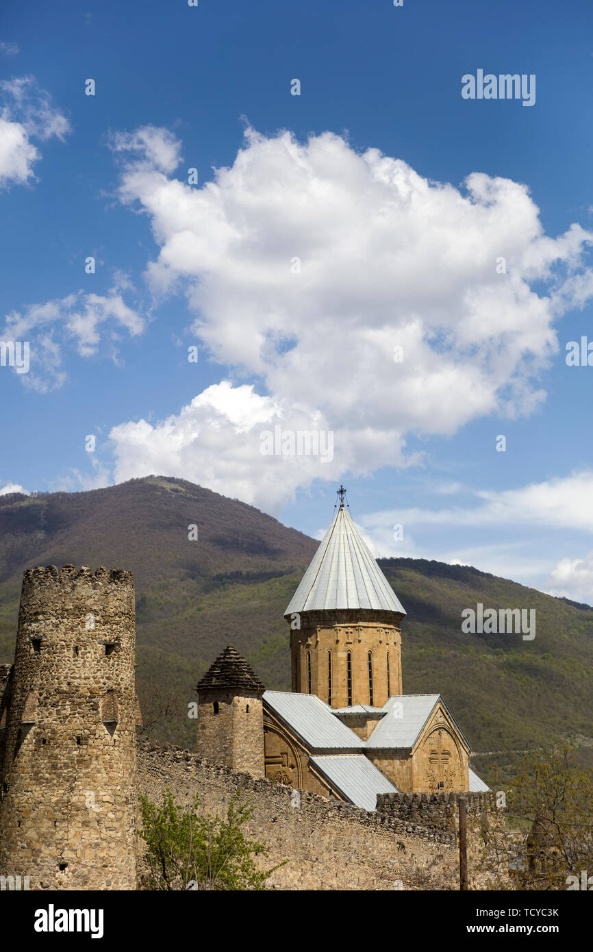 View at Ananuri castle complex on the Aragvi River in Georgia - Stock Image