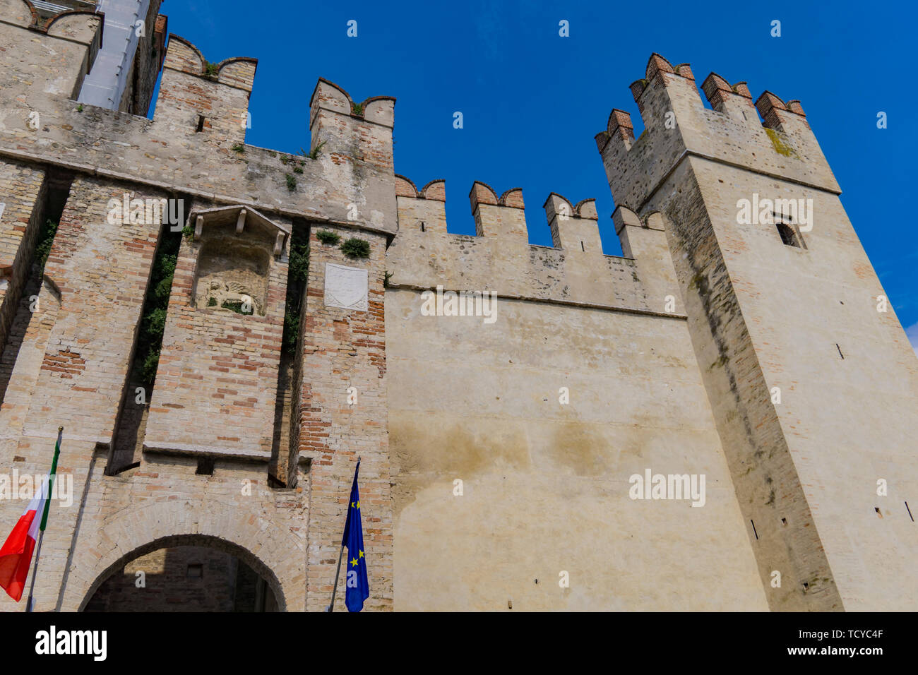 Detail of Castello Scaligero Di Sirmione (Sirmione Castle), from 14th  Century at Lake Garda, Sirmione, Italy - Stock Image