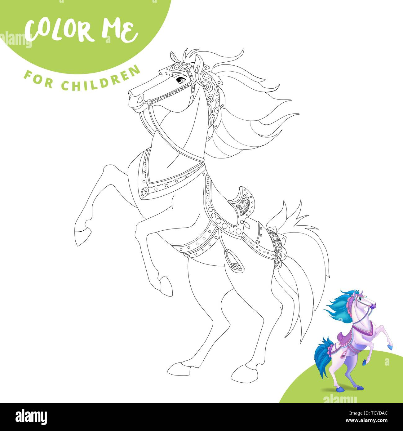 Coloring Page Color Me Horse Realistic Cartoon Horse Cute Horse Smiles Stock Vector Image Art Alamy