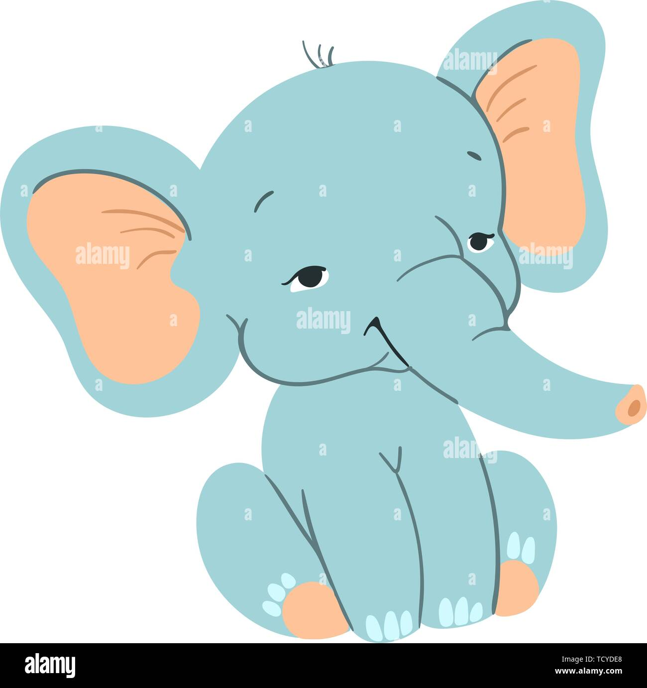 Cute baby elefant sitting. Funny blue elefant with for design - Stock Vector