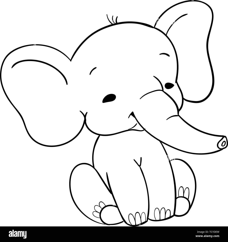 Cute baby elefant sitting. Funny black and white elefant for design - Stock Image