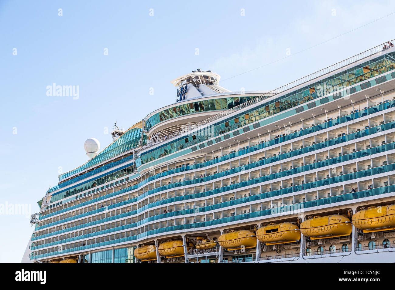 Balconies on Royal Caribbean Ship - Stock Image