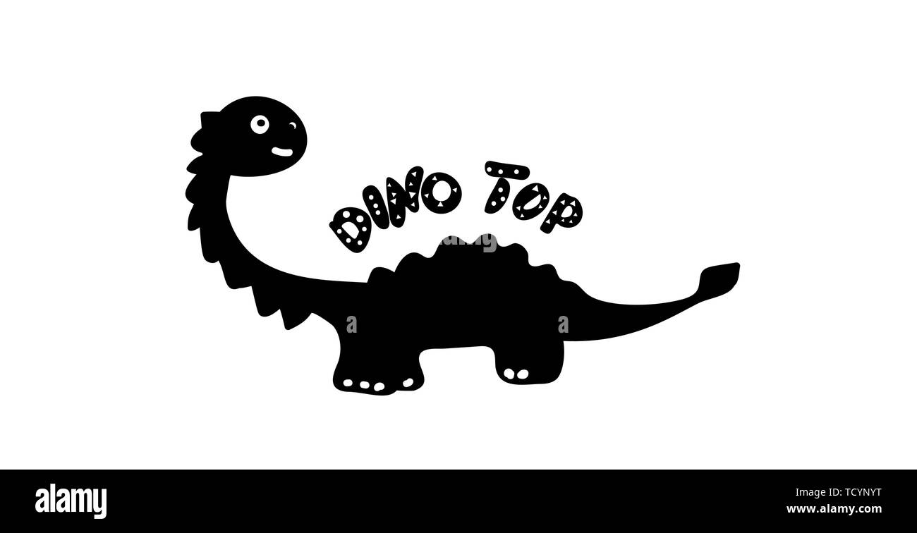 Children print silhouette of a dinosaur in the style of doodle. Black dino with the inscription Dino Top. Phrase, inscription, font. For prints on Stock Vector