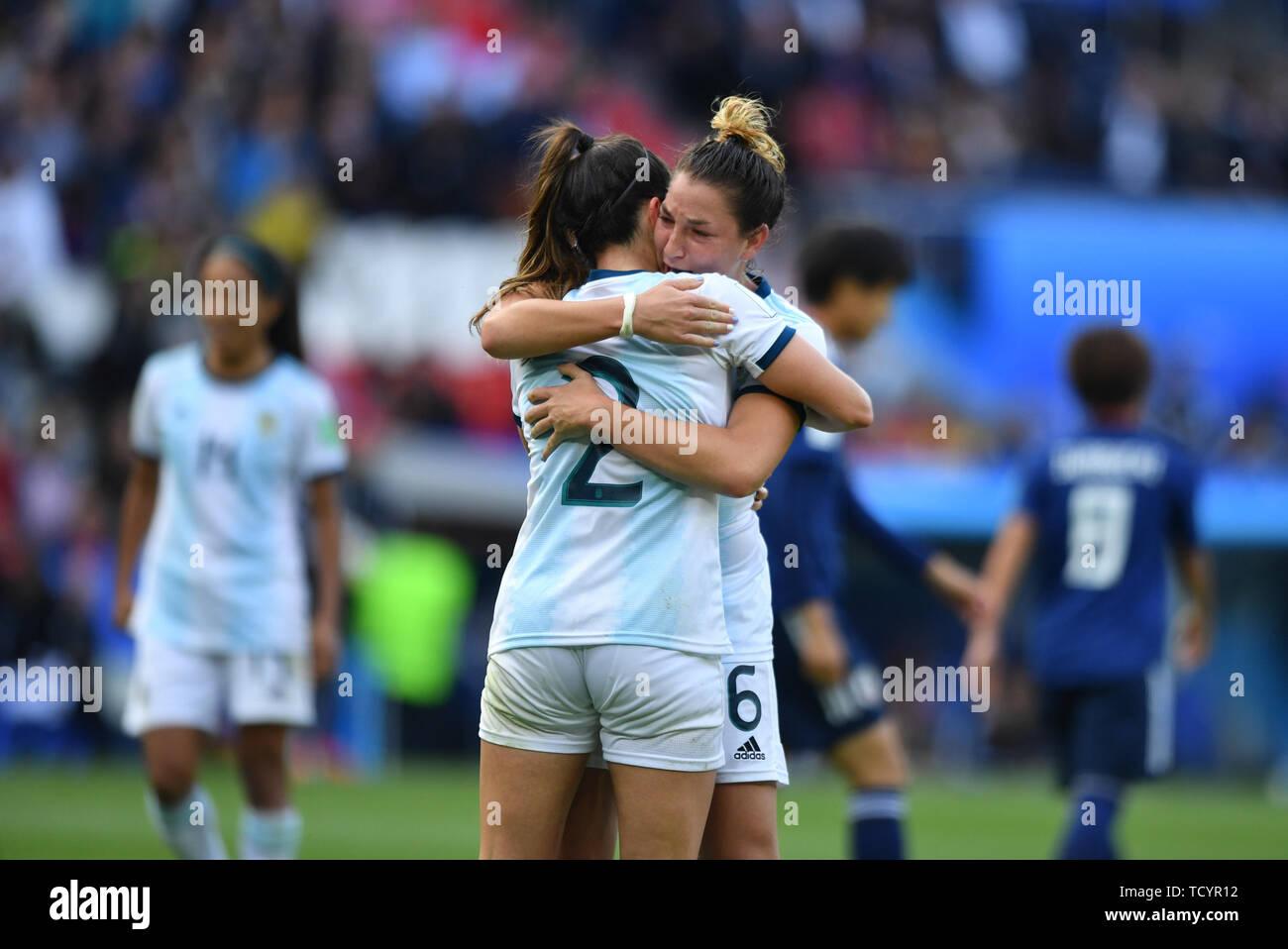 10 june 2019 Paris, France Soccer Women's World Cup France 2019: Argentina v Japan   Happy Argentina Player Agustina Barroso (Argentinien) (2) and Ald - Stock Image