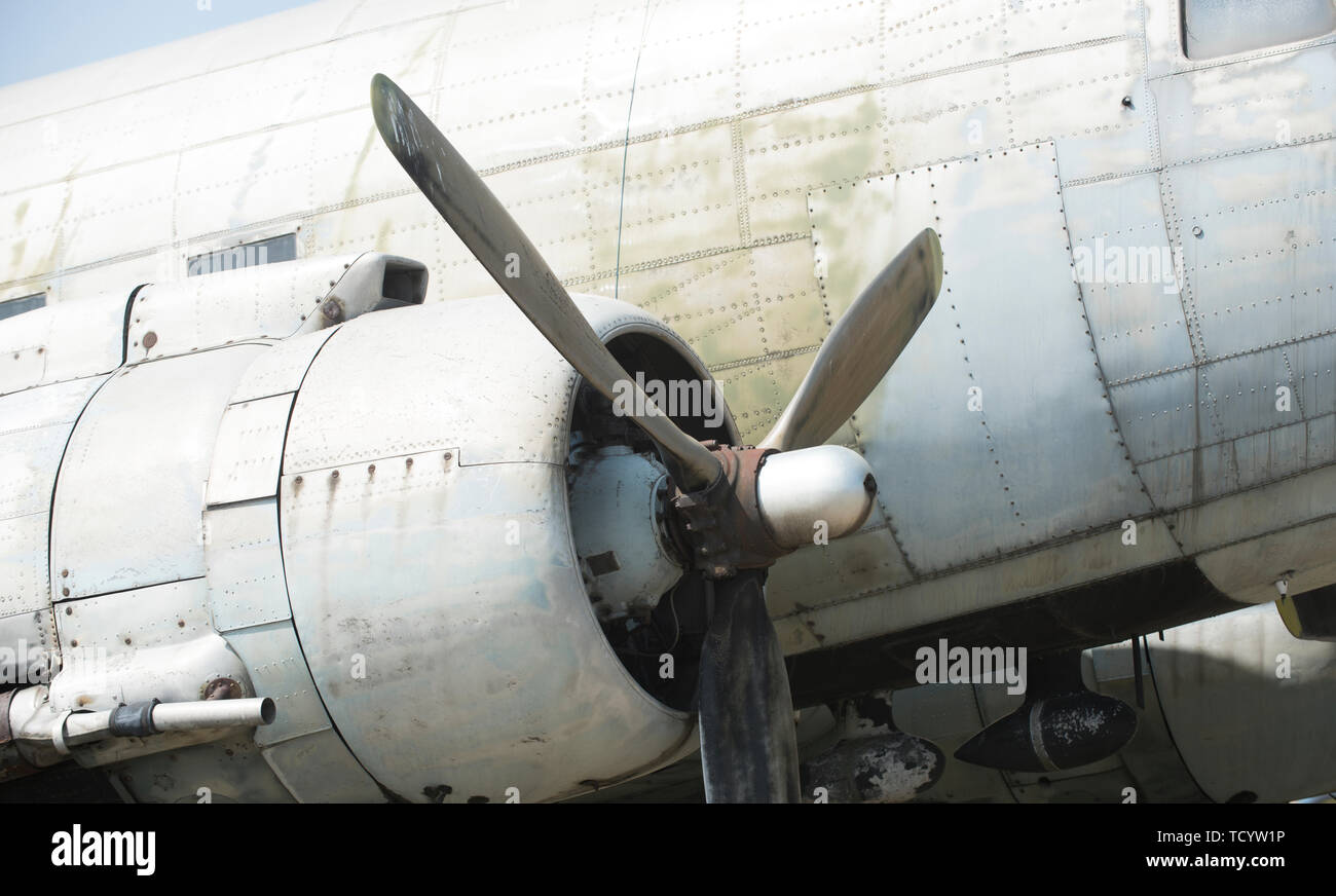 Aircraft propeller detail. Airscrew of plane. Rotation and swirling. Aviation and air transport. Wanderlust or vacation and travelling. - Stock Image
