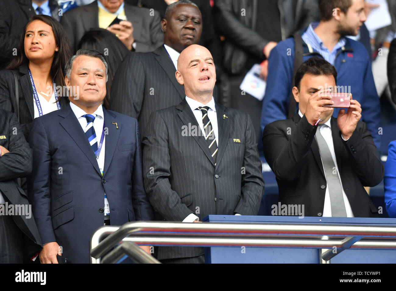 10 june 2019 Paris, France Soccer Women's World Cup France 2019: Argentina v Japan   Gianni Infantino in the stands - Stock Image