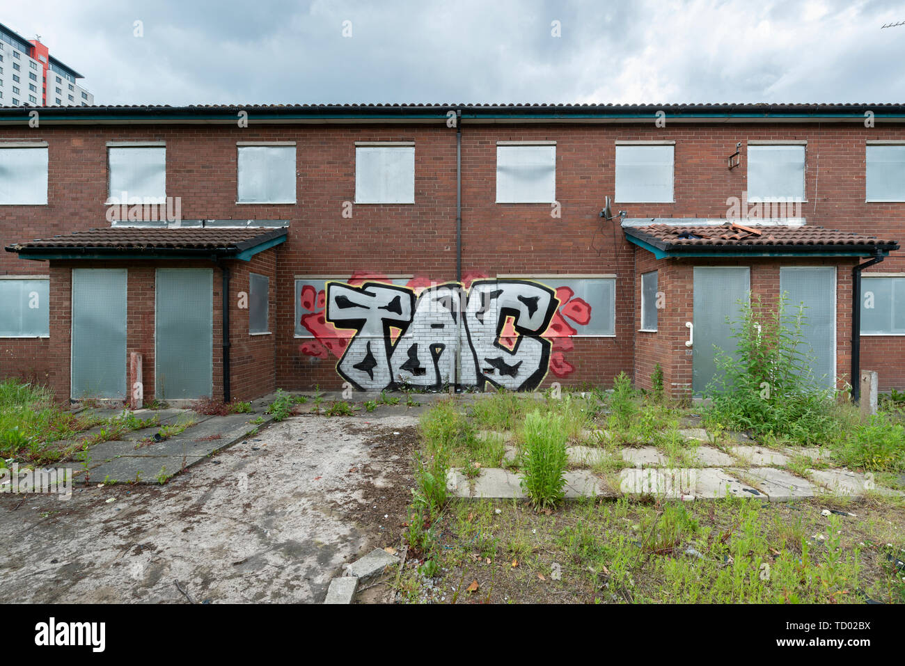 Boarded up houses on the High Street Estate area of Pendleton in Salford, which are awaiting demolition. Stock Photo