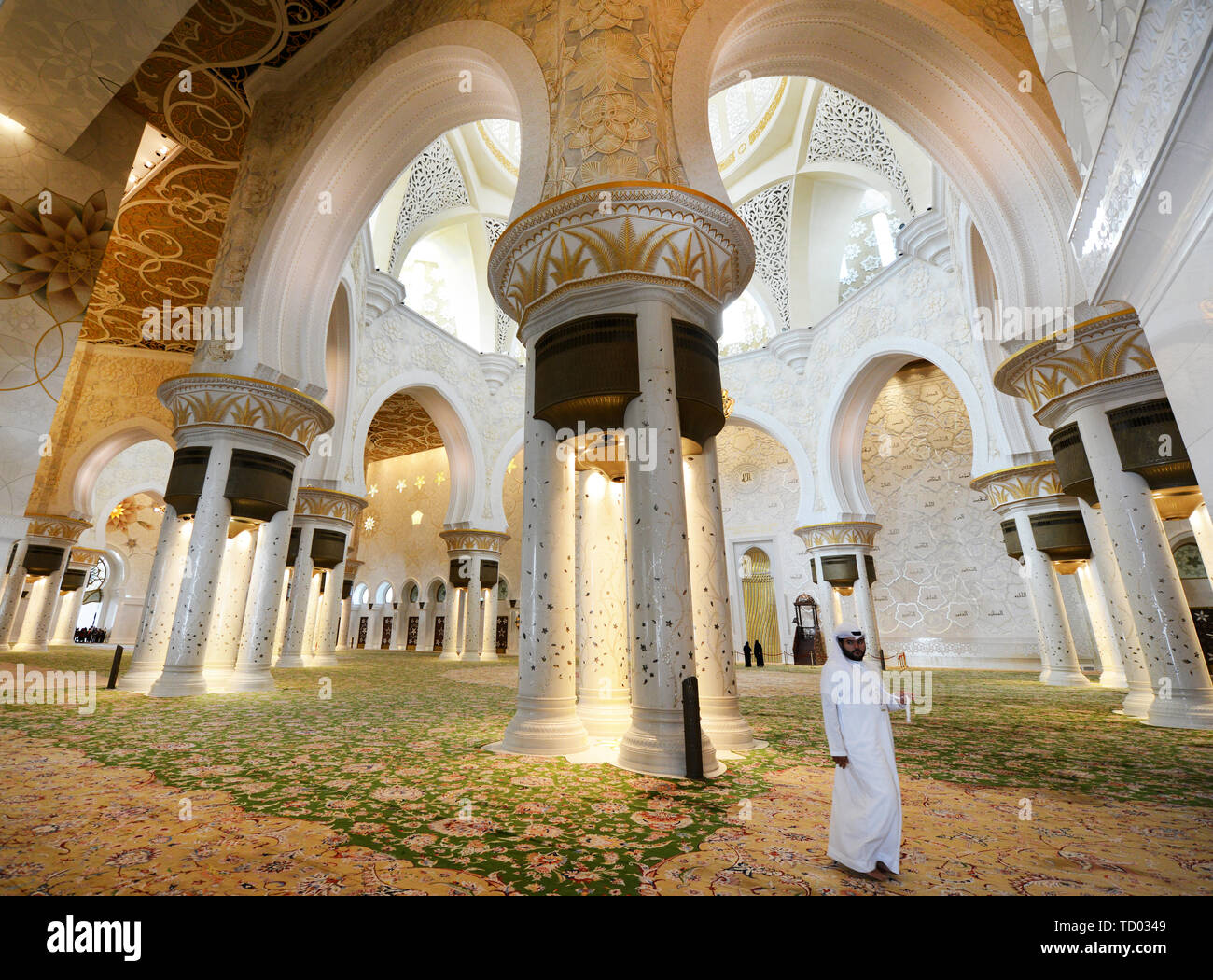 The interior of the beautiful Sheikh Zayed Grand Mosque in Abu Dhabi. Stock Photo