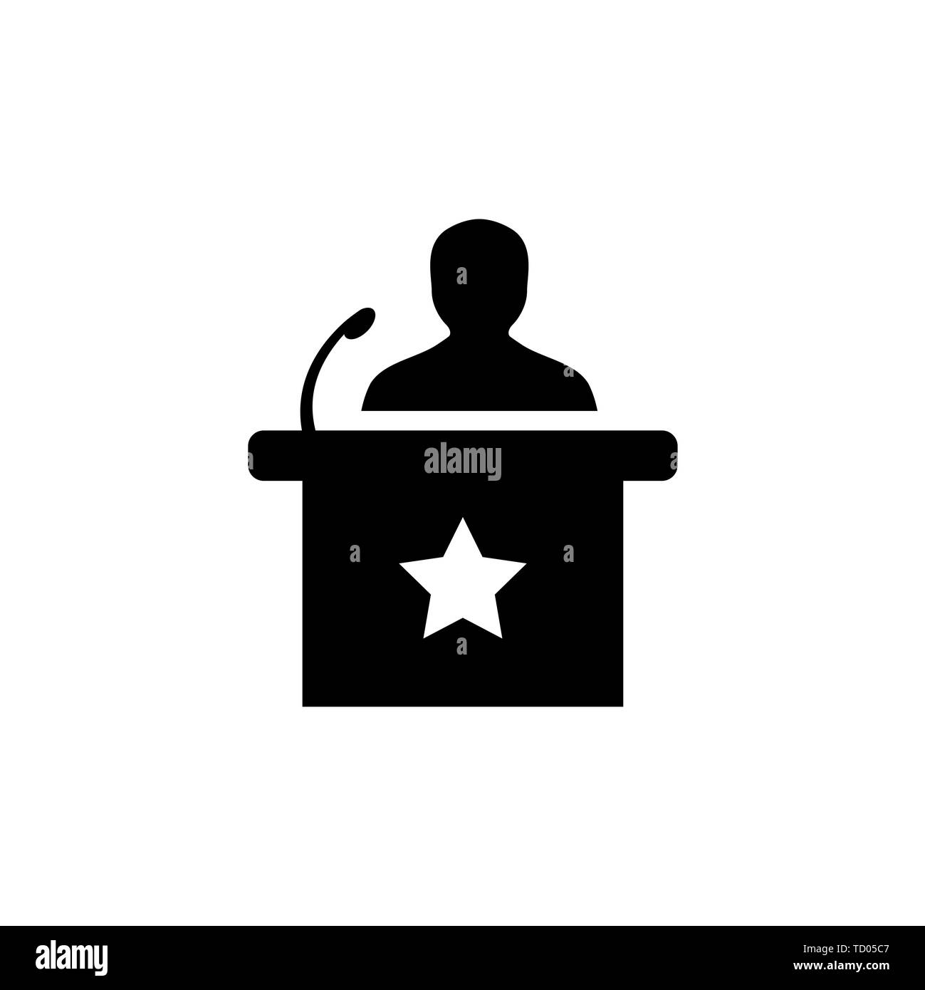 Speaker Icon In Flat Style Vector Icon For Apps And Websites. Black Icon. Vector Illustration. - Stock Image