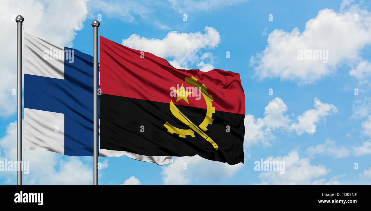 Finland and Angola flag waving in the wind against white cloudy blue sky together. Diplomacy concept, international relations. - Stock Image