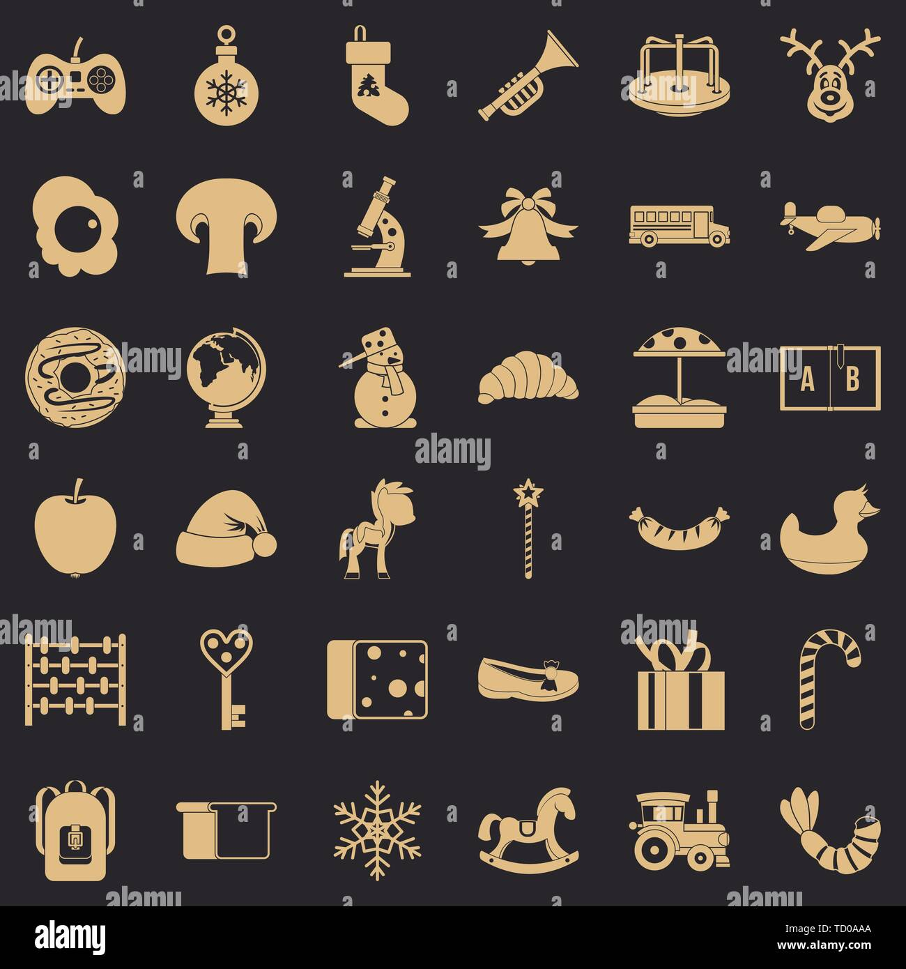 Experienced nanny icons set, simple style - Stock Image