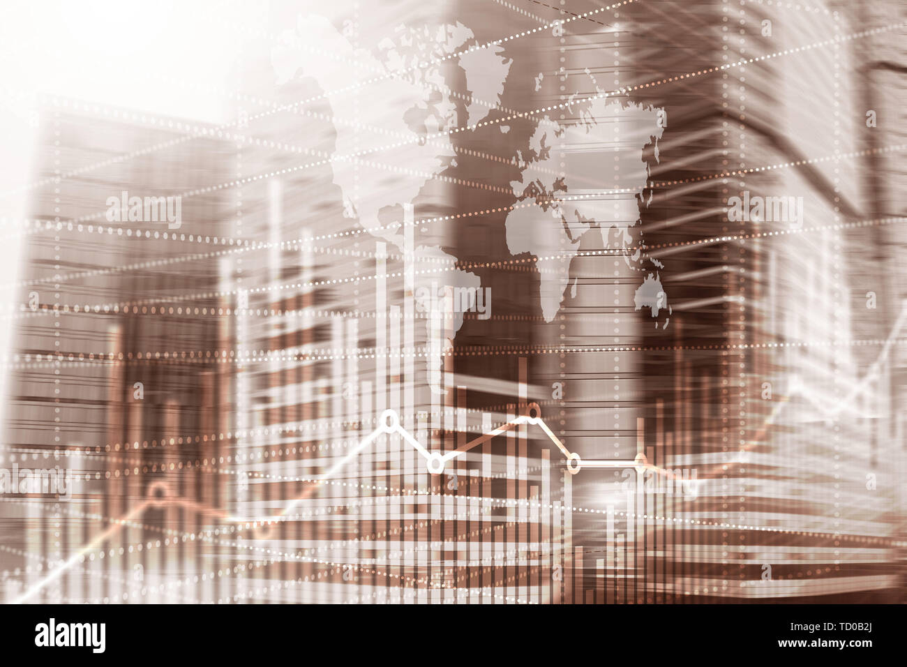 High-rise buildings mixed media double exposure. Modern city. Economic growth graph chart - Stock Image