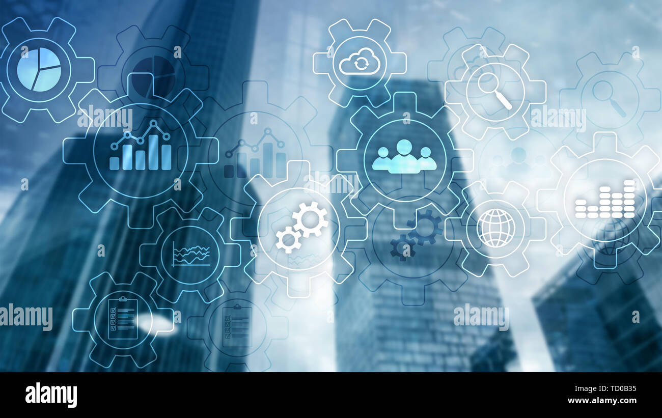 Business process abstract diagram with gears and icons. Workflow and automation technology concept - Stock Image