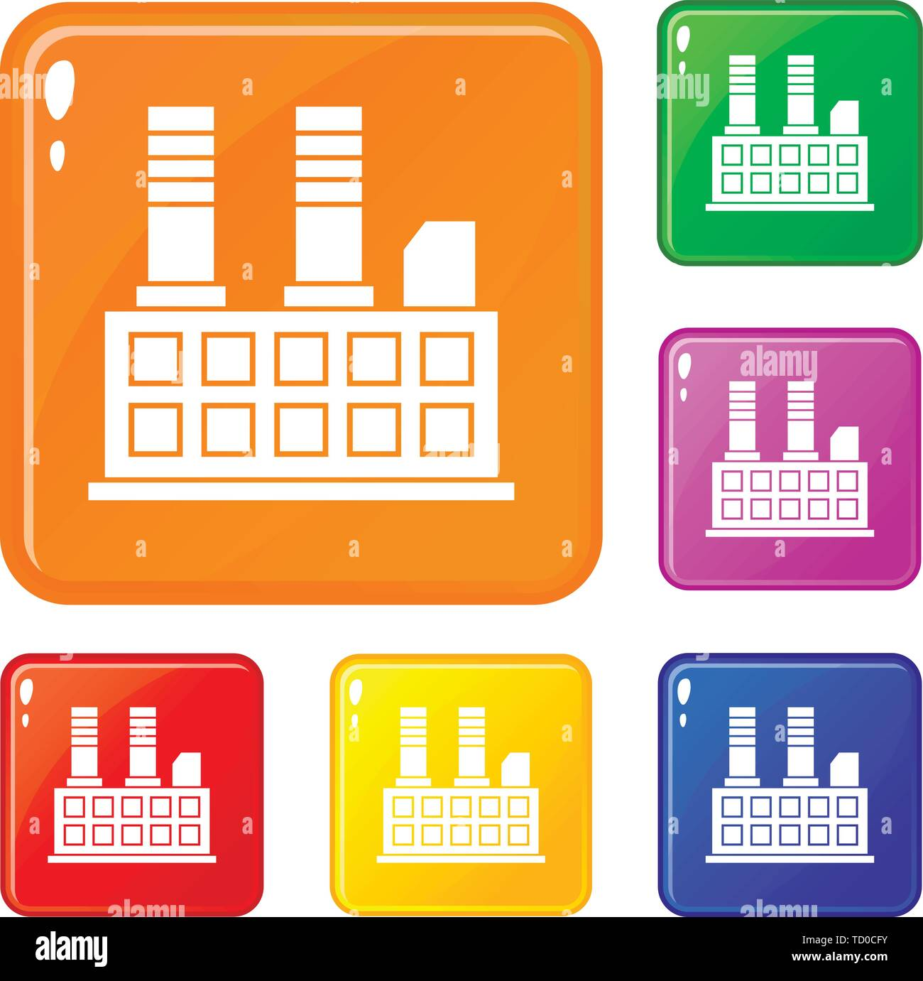 Factory building icons set vector color - Stock Image