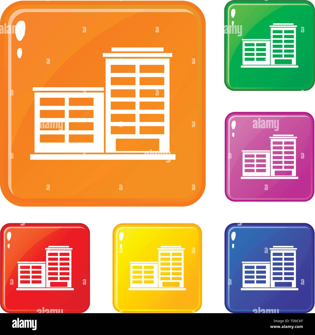 Manufacturing factory building icons set vector color - Stock Image
