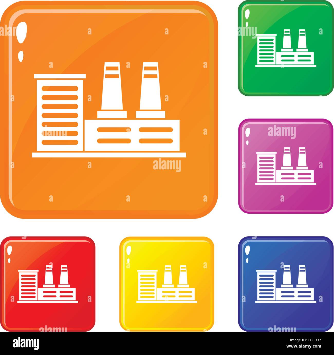 Power plant icons set vector color - Stock Image