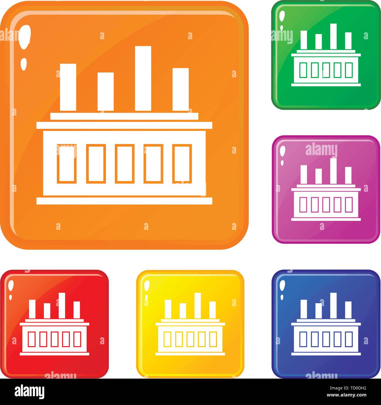 Industrial factory building icons set vector color - Stock Image