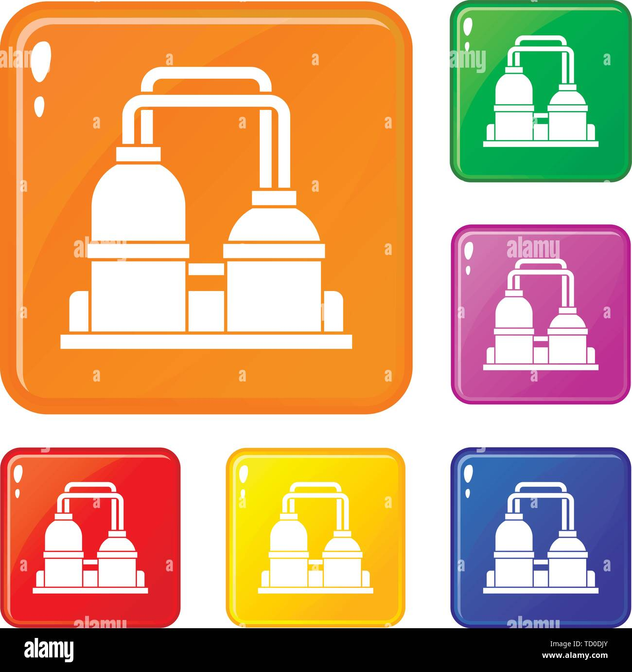 Oil processing factory icons set vector color - Stock Image