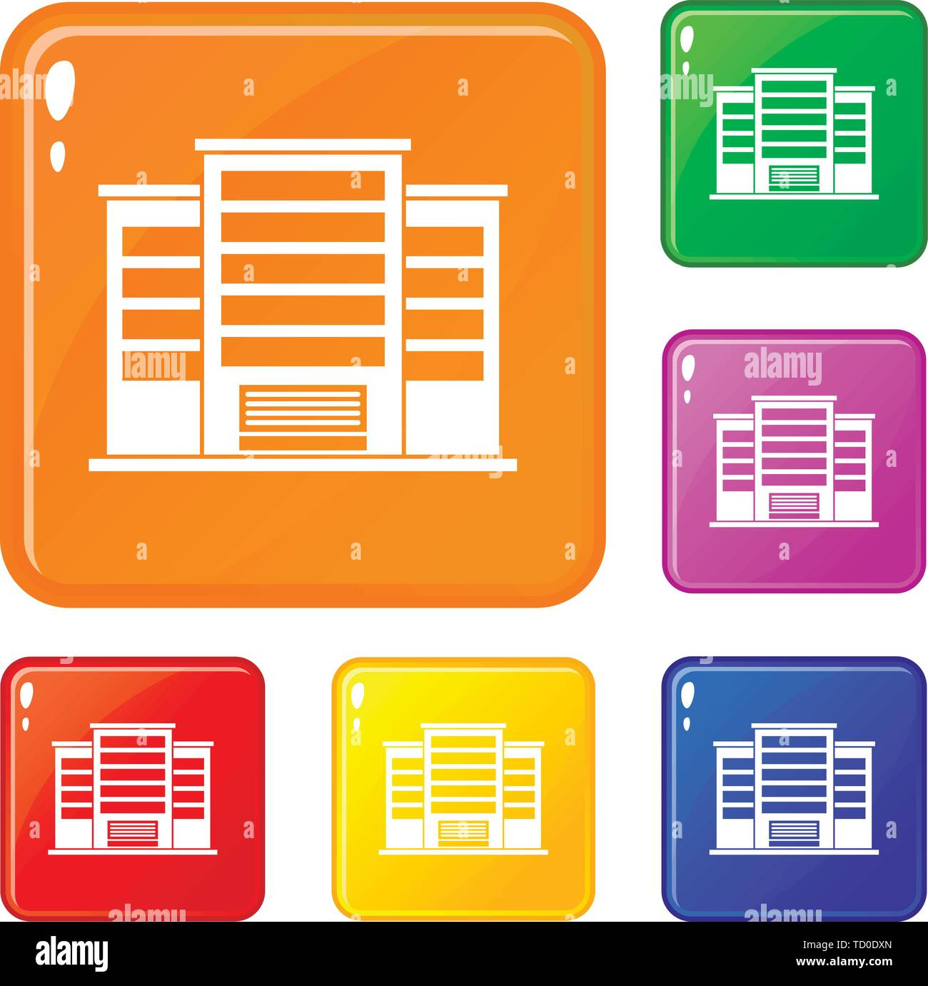 Industrial building icons set vector color - Stock Image