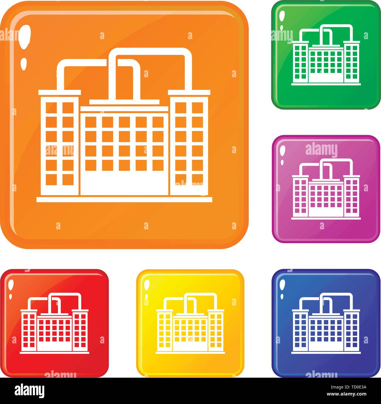 Plant building icons set vector color - Stock Image