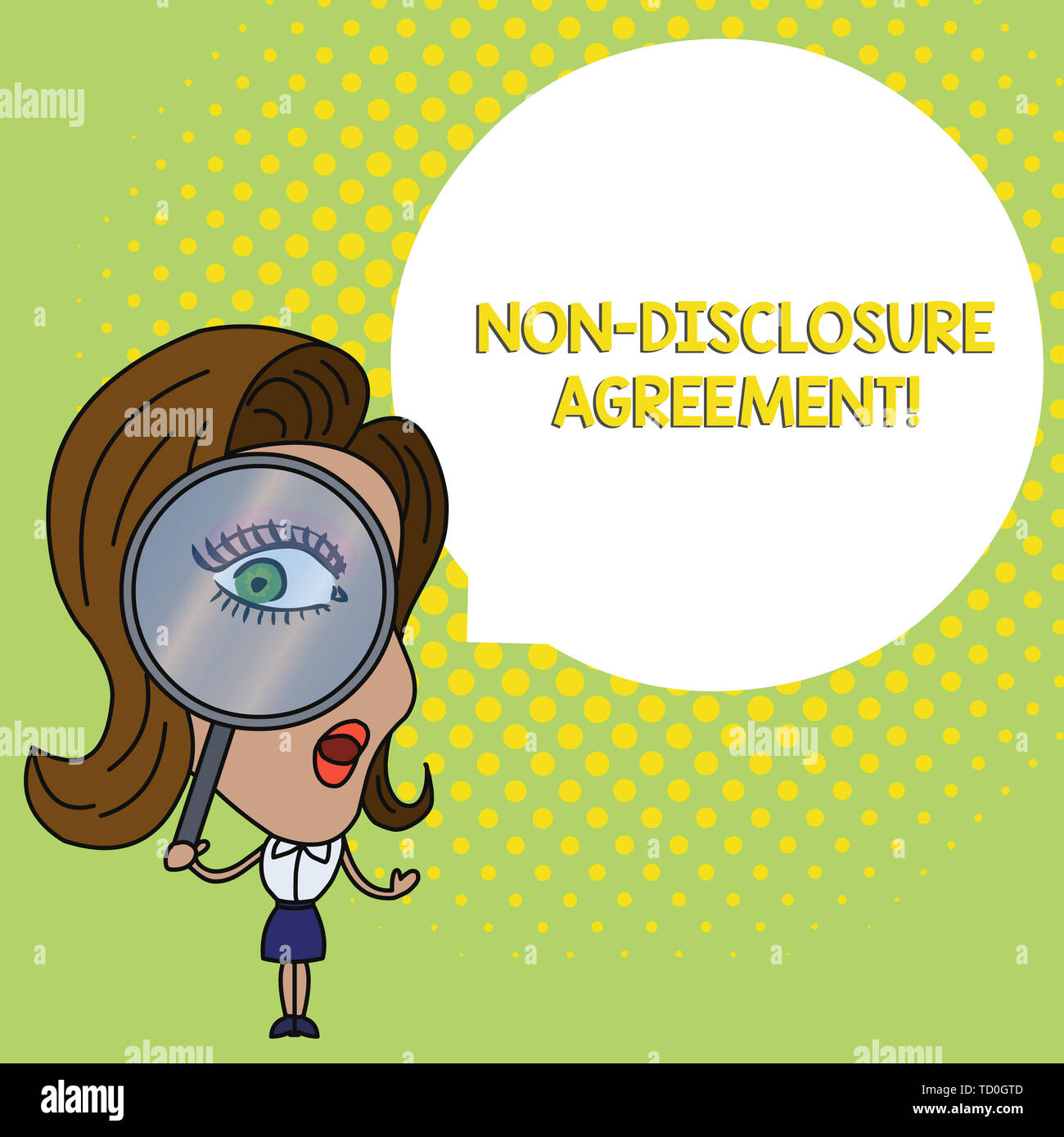 Conceptual hand writing showing Non Disclosure Agreement. Concept meaning Legal Contract Confidential Material or Information Woman Looking Trough Mag - Stock Image