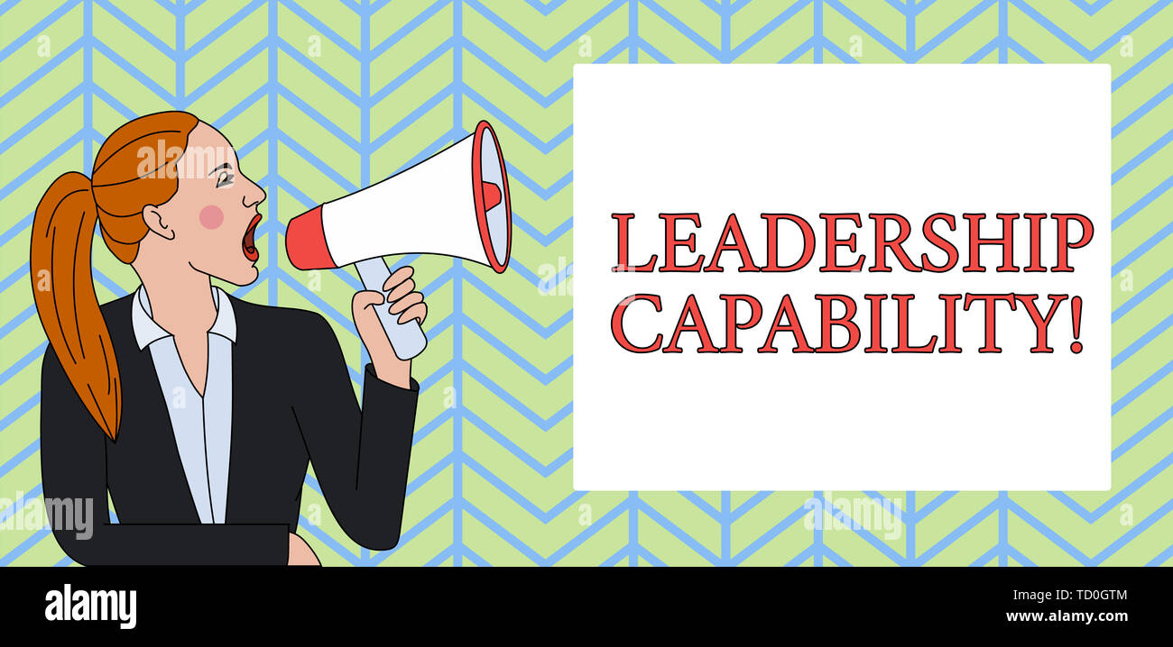 Conceptual hand writing showing Leadership Capability. Concept meaning what a Leader can build Capacity to Lead Effectively Woman Jacket Ponytail Shou - Stock Image