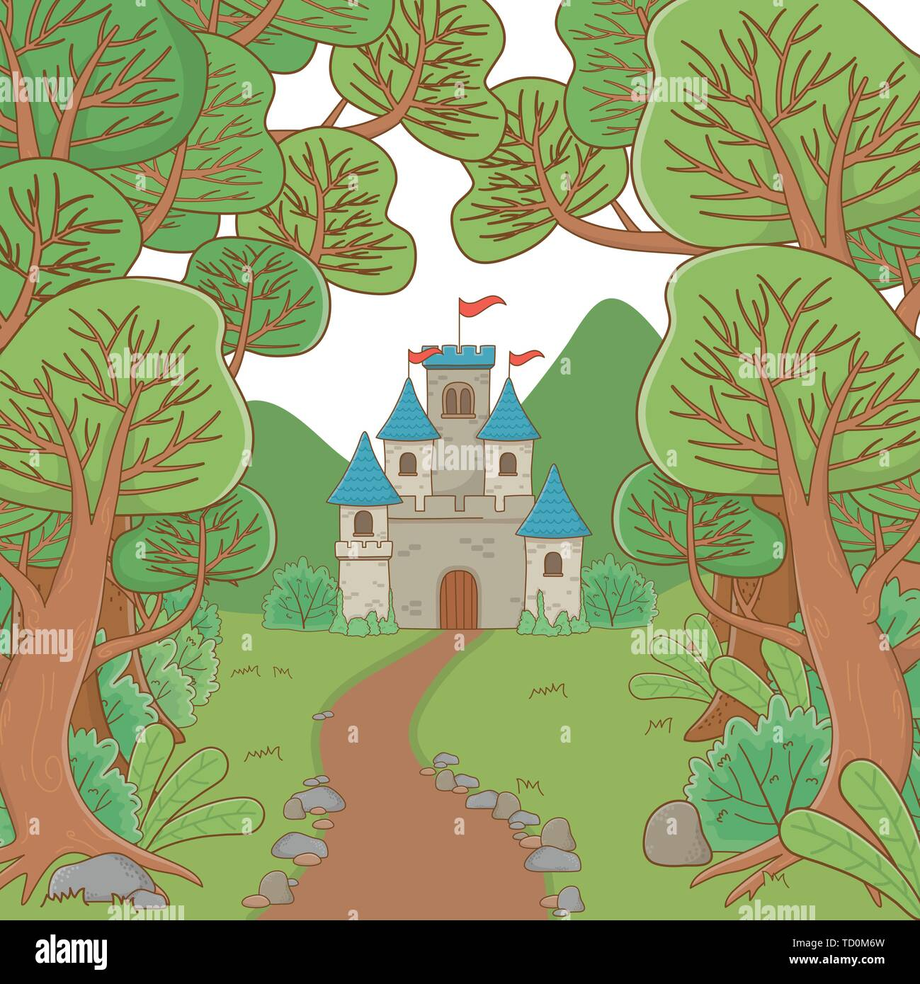 Castle design, Palace medieval tower fairytale building fantasy and fortress theme Vector illustration - Stock Image