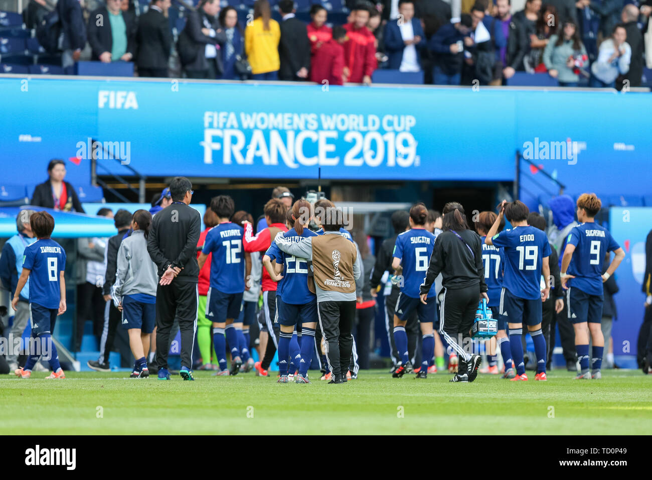 Paris, France  10th June, 2019  Japan players walk off the