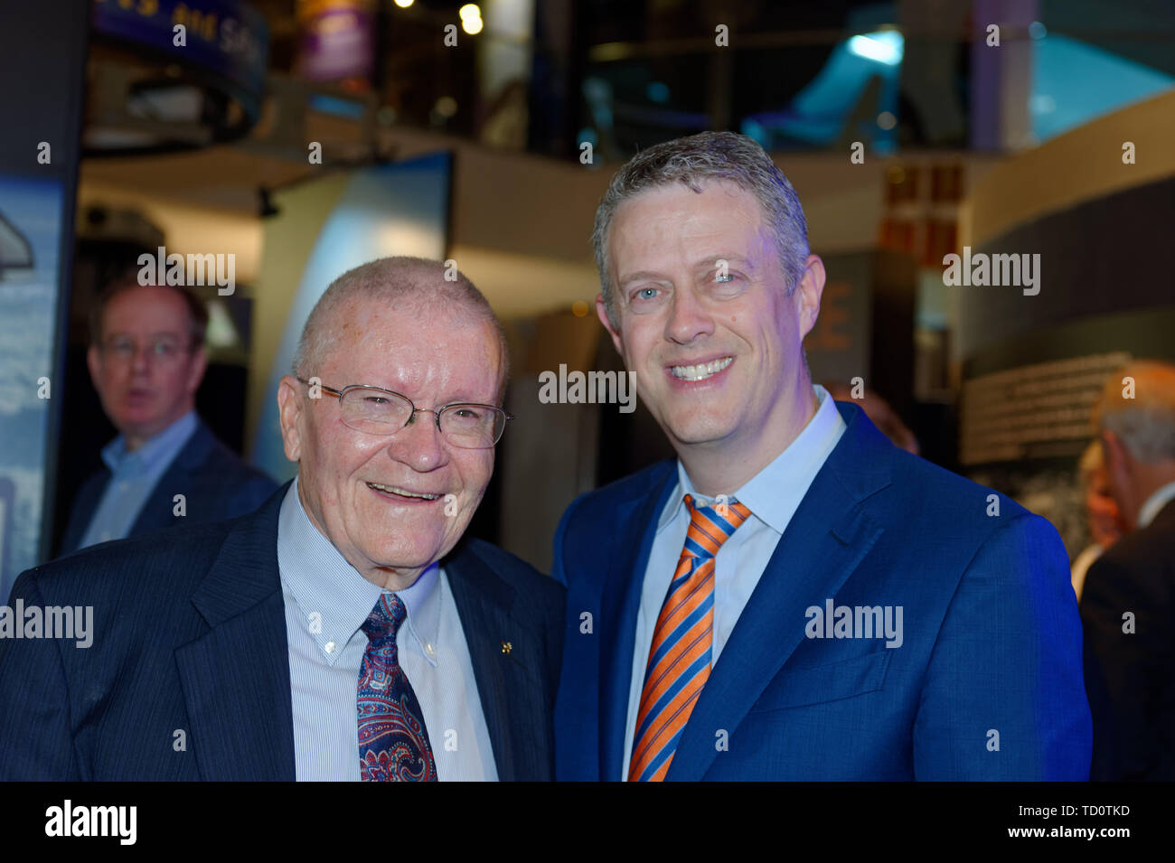 Garden City, New York, USA. 6th June, 2019. L-R, Apollo 13 astronaut FRED HAISE and Cradle of Aviation Museum Board of Directors member TODD RICHMAN pose for photo during Apollo at 50 Anniversary Dinner, an Apollo astronaut tribute celebrating the Apollo 11 mission Moon landing. Credit: Ann Parry/ZUMA Wire/Alamy Live News - Stock Image