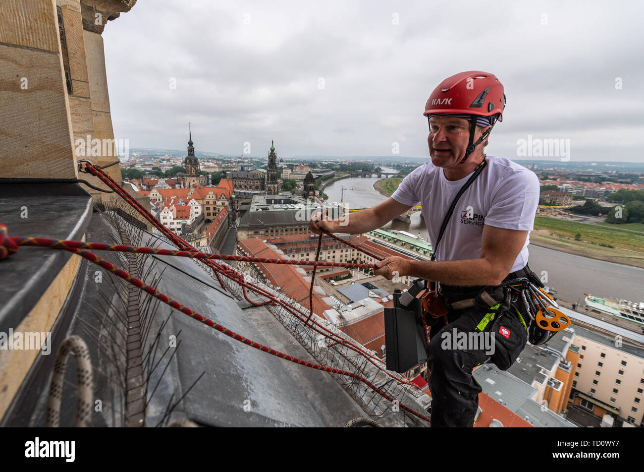 Dresden, Germany. 11th June, 2019. Heightworker Andreas Rösler climbs on the dome of the Frauenkirche to renew lights for the evening illumination of the stone dome. Maintenance and replacement work has to be carried out on a total of 40 luminaires on the lantern shaft, the small dome buildings and the rear sides of the staircase tower. The work is necessary because the light from the previous luminaires no longer reflects sufficiently from the darkening stone. Credit: Robert Michael/dpa-Zentralbild/dpa/Alamy Live News - Stock Image