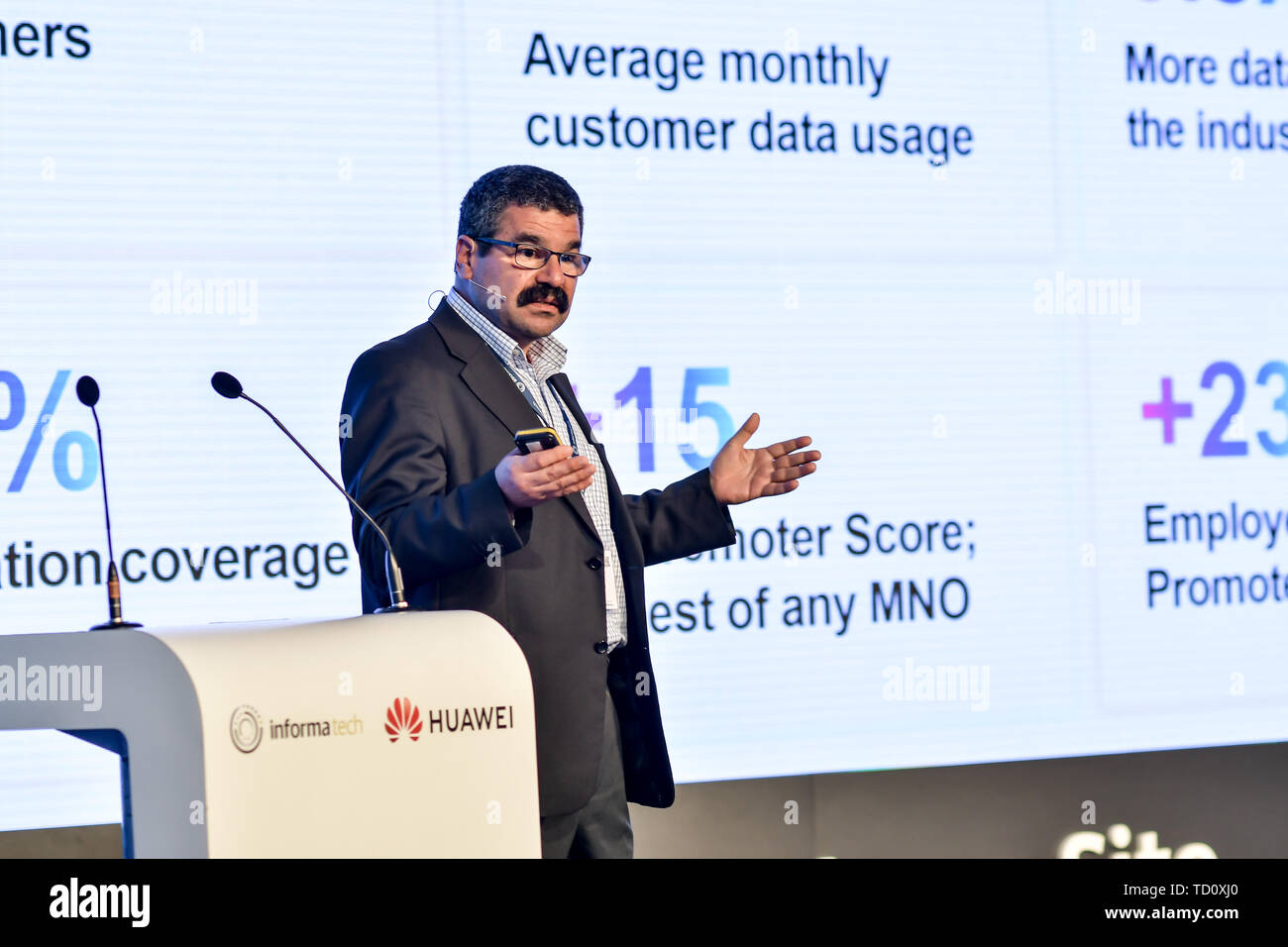 London, UK. 11th June, 2019. Speaker Dr Erol Hepsaydir at 5G World at Excel London, on 11 June 2019, UK. Credit: Picture Capital/Alamy Live News Stock Photo