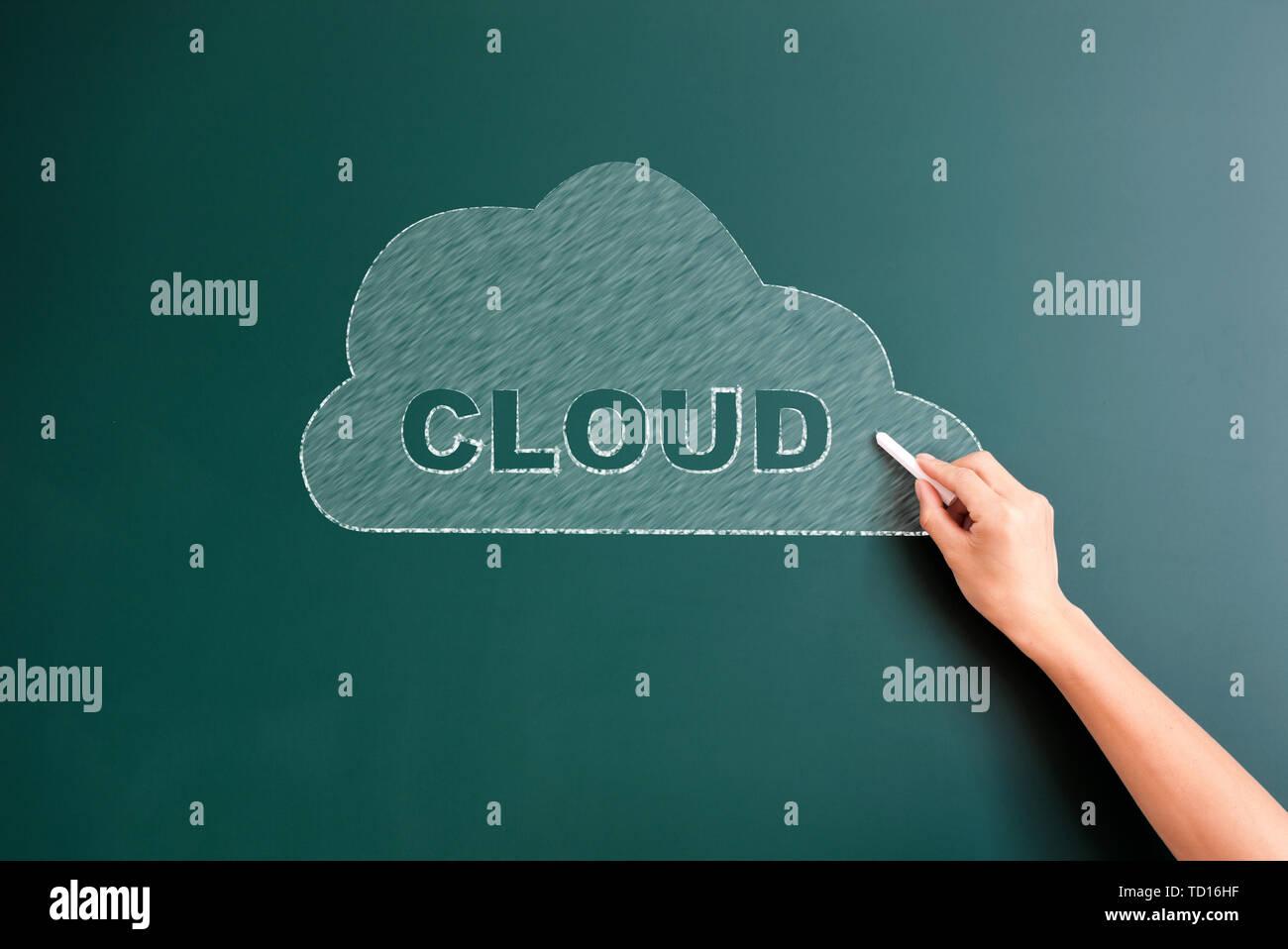 cloud written on blackboard - Stock Image