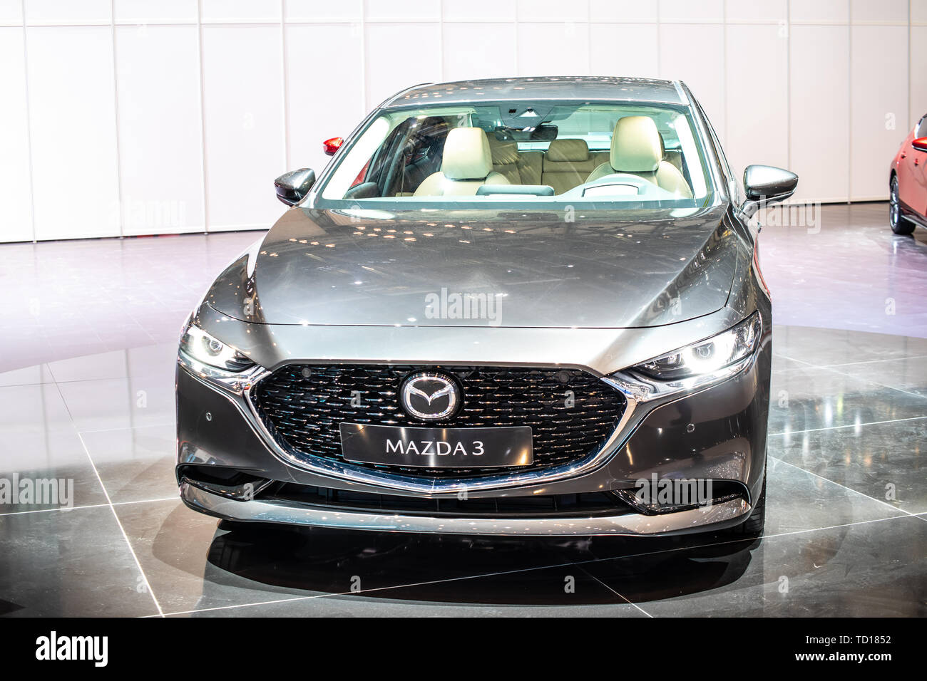 Geneva, Switzerland, March 04, 2019: all new Mazda 3 Fourth generation at Geneva International Motor Show, compact car manufactured in Japan by Mazda Stock Photo