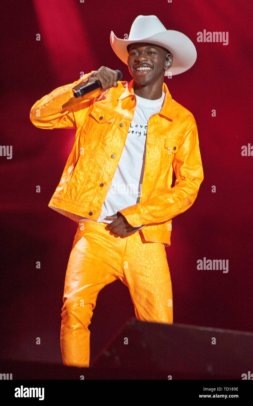 June 8, 2019 - Nashville, Tennessee; USA -  Rap Artist LIL NAS X performs live at Nissan Stadium as part of the 2019 CMA Music Festival that took place in downtown Nashville.   Copyright 2019 Jason Moore. (Credit Image: © Jason Moore/ZUMA Wire) Stock Photo