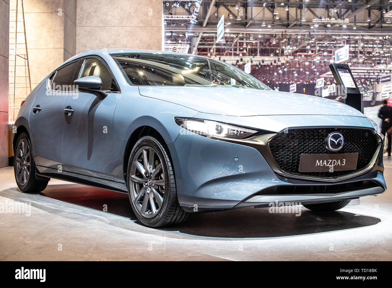 Geneva, Switzerland, March 04, 2019: all new Mazda 3 Fourth generation at Geneva International Motor Show, compact car manufactured in Japan by Mazda - Stock Image