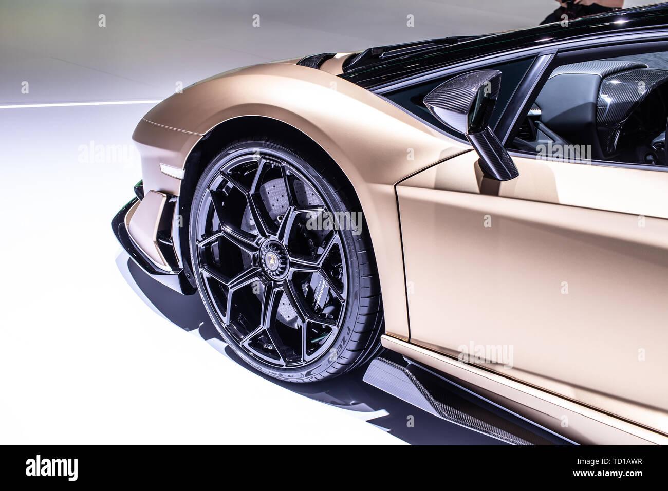 Geneva, Switzerland, March 06, 2019 Lamborghini Aventador SVJ Roadster at Geneva International Motor Show supercar manufactured by Italian Lamborghini - Stock Image