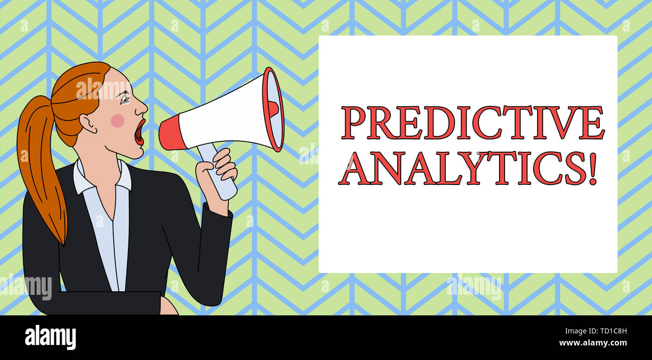 Conceptual hand writing showing Predictive Analytics. Concept meaning Optimize Collection Achieve CRM Identify Customer Woman Jacket Ponytail Shouting - Stock Image