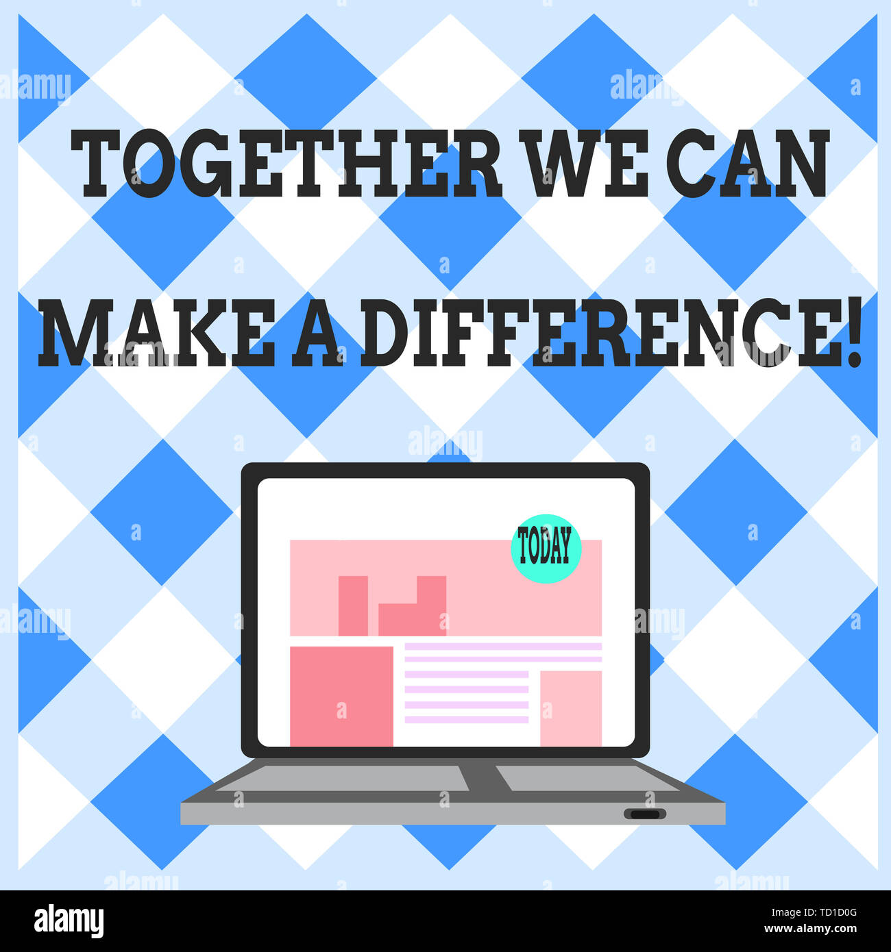 Word writing text Together We Can Make A Difference. Business photo showcasing be very important some way in like team or group Open Modern Laptop Swi - Stock Image