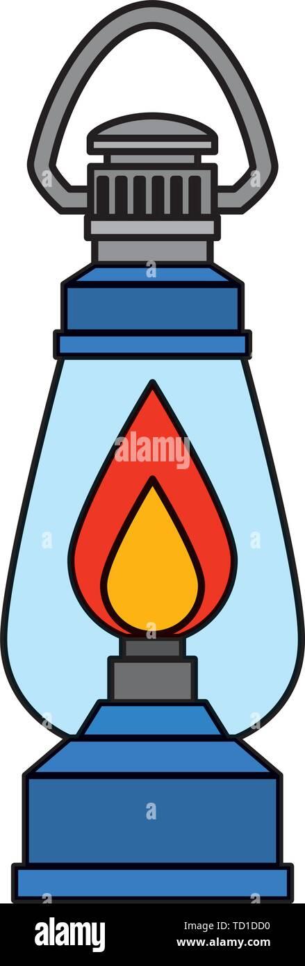 kerosene lantern light isolated icon - Stock Image
