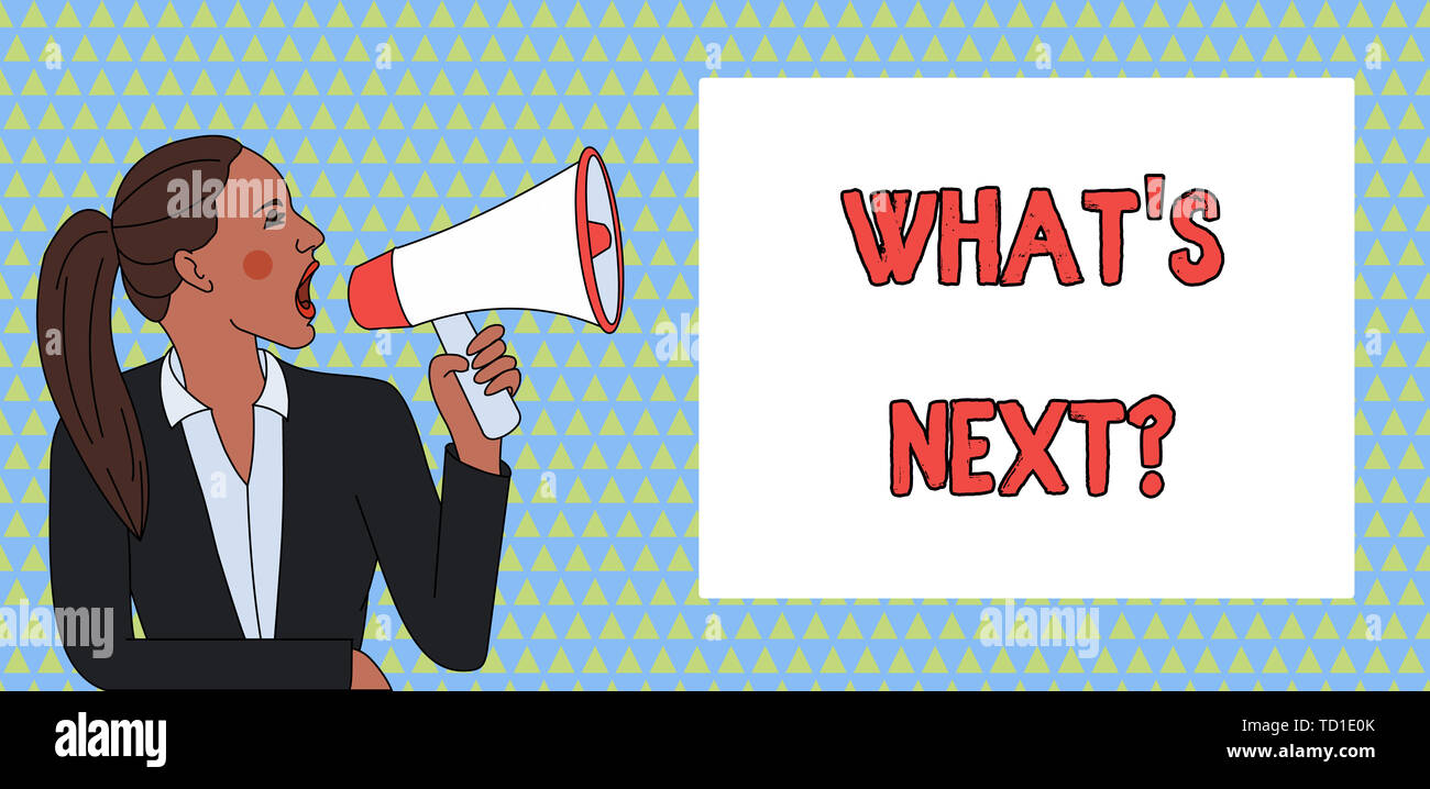 Word writing text What S Next Question. Business photo showcasing Get information Ask Query Investigate Probes Explore Young Woman Jacket Ponytail Sho - Stock Image