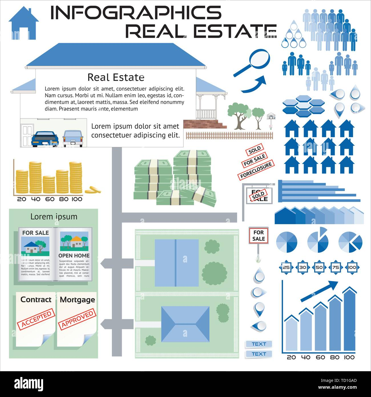 Infographics Real Estate House Sales - All objects grouped separately and easy to edit EPS10 Stock Vector