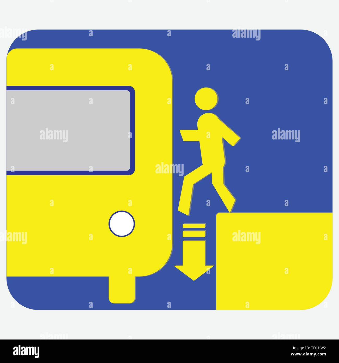 Be careful when entering the subway train icon - Stock Vector
