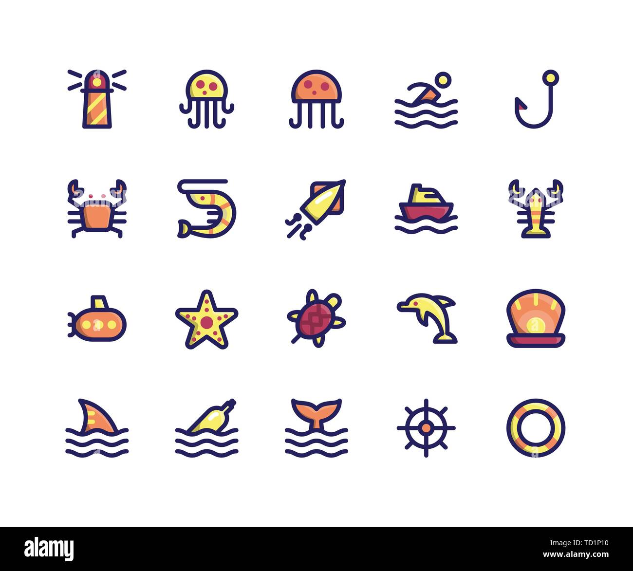 Simple Set of Camping Related Vector Filled Line Icons. Contains such Icons as Lighthouse, Jellyfish, Crab, Shrimp, Squid and More. pixel perfect vect - Stock Vector