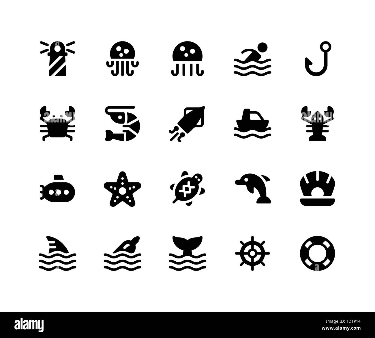 Simple Set of Camping Related Vector Glyph Icons. Contains such Icons as Lighthouse, Jellyfish, Crab, Shrimp, Squid and More. pixel perfect vector ico - Stock Vector