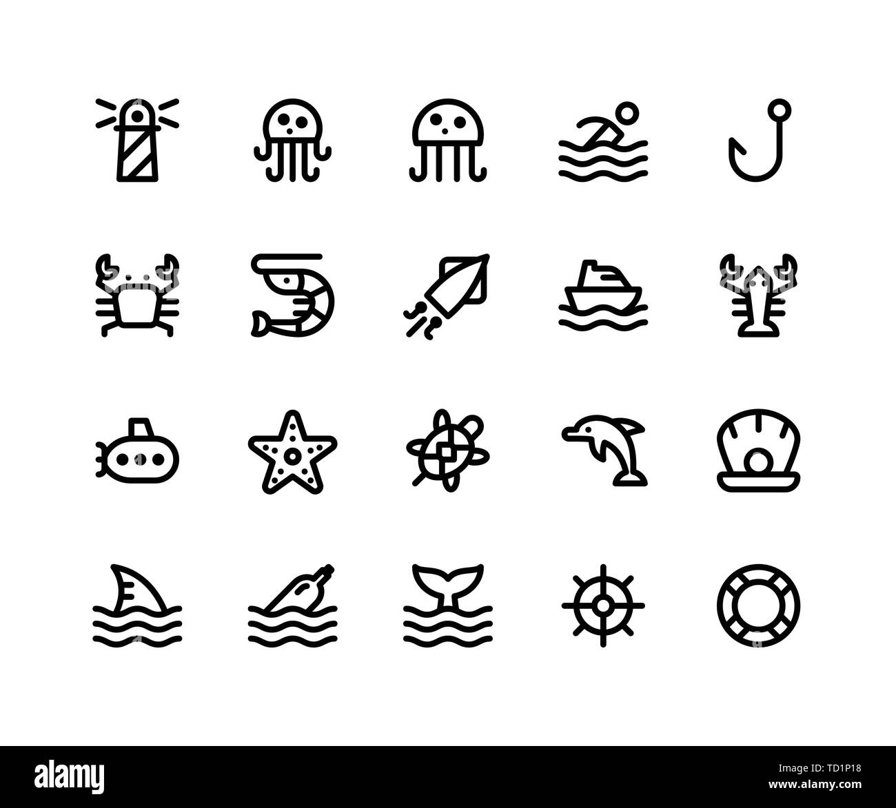 Simple Set of Camping Related Vector Line Icons. Contains such Icons as Lighthouse, Jellyfish, Crab, Shrimp, Squid and More. pixel perfect vector icon - Stock Vector