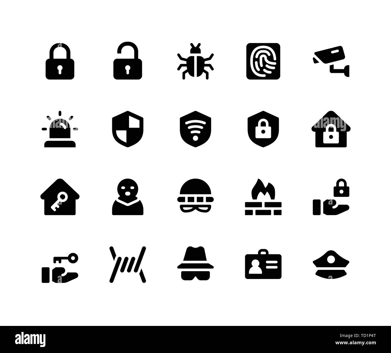 Simple Set of Security Related Vector Glyph Icons. Contains such Icons as lock, unlock, bug, finger print and More. pixel perfect vector icons based o - Stock Image